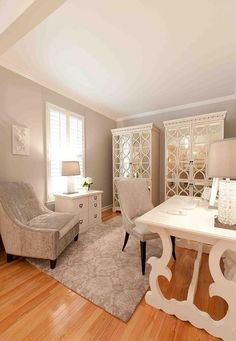 55 Elegant And Exquisite Feminine Home Offices | DigsDigs  I'd like an accent color worked in to this room somewhere, but it is certainly a beautiful work space.