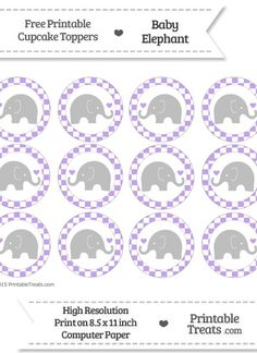 Free Pastel Purple  Checker Pattern Baby Elephant Cupcake Toppers