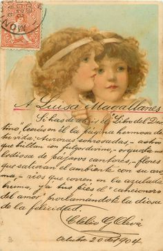 Two angels, one with hands crossed on chest.  Artist, Frances Brundage, 1904.  Hand-penned message, and red stamp with postmark top left-hand corner.