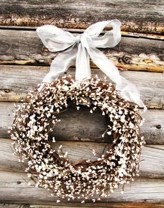 ANTIQUE WHITE & SILVER Wedding Wreath-Inspired Vintage Rustic Berry Wreath-Cottage Garden Wedding-Scented Vanilla-Choose Scent- Ribbon Color. $55.00, via Etsy.