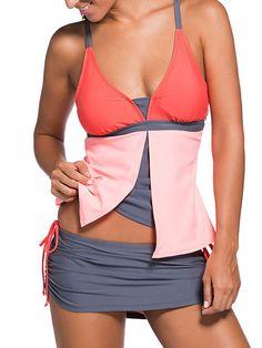 2Pcs Bluish Print Hit Color Tankini Skort Bottom Swimsuit Bathing Suit Tankini Bikini Swimwear
