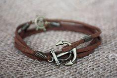 Anchor Mens Bracelet Mens Leather bracelet Cuff Customized On Your Wrist Bracelets For Men, Cuff Bracelets, Bracelet Men, Cow Leather, Suede Leather, Bracelet Nautique, Nautical Bracelet, Bracelet Cuir, Braided Leather