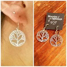 Lovely open metal tree earrings, made in Thailand. $48.