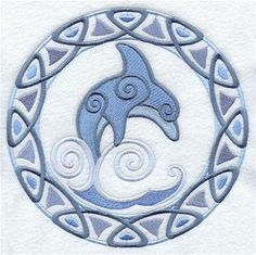 bath towel set Celtic style dolphin circle 6 by PeriwynklePlace