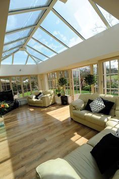 Beautiful Orangery/Sun-room, with Ultra-frame Skylight Roof, and open out French Doors, with Stunning Brickwork to Match the Existing Beautiful Property. Pergola Attached To House, Deck With Pergola, Patio Roof, Pergola Plans, Diy Pergola, Pergola Ideas, Pergola Kits, Covered Pergola, Orangery Extension