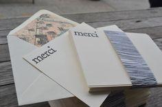 Merci Note Card Set with Antique Paris Map Lined Envelopes. $40.00, via Etsy.