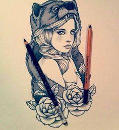 Image result for bear tattoo feminine
