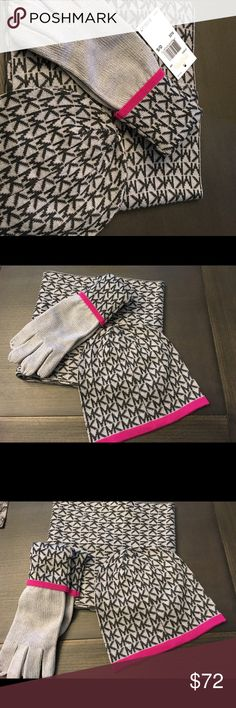 Michael Kors 3 piece set Hat, gloves and scarf.  Black gray and pink-  all new MICHAEL Michael Kors Accessories Scarves & Wraps
