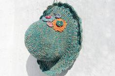 新年禮物 限量一件 手工編織棉麻帽/編織帽/漁夫帽/遮陽帽/草帽/草編帽 - 編織花朵 森林風 ( 綠色 )