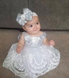 Adorably gorgeous baby dress to make your little girl look stunning! Cute Flower Girl Dresses, Wedding Dresses For Girls, Little Girl Dresses, Dress Wedding, Baby Wedding Outfit Girl, Flower Girls, Bridesmaid Dresses, Girls Frock Design, Baby Dress Design