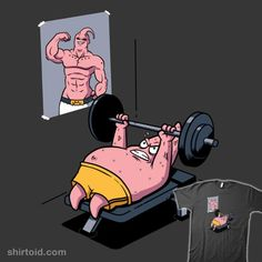 Push Your Limit | Shirtoid #anime #dragonball #exercise #majinbuu #oktobear #patrickstar #spongebobsquarepants #tvshow #weightlifting