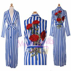 Boutique Top M Blue White Stripe Rose Embellished Long Sleeve Duster Coat Jacket #Boutique #Duster #Casual