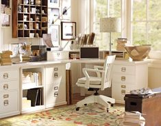 Pottery Barn office.  An inspiration photo of what we plan to build ourselves at home for a fraction of the cost.
