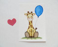Kleine Giraffe Kinderzimmer Dekoration Aquarell von Waterblooms