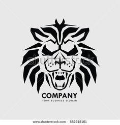 Abstract Logo Design with Lion Face Illustration