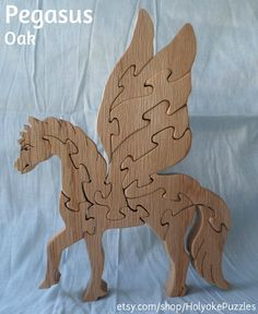 Pegasus Winged Horse Wooden 3D Jigsaw Puzzle in by HolyokePuzzles, $19.95 Use coupon code PIN10 for 10% off anything in the Holyoke Puzzles store. #shopsmall #artisansofwmass