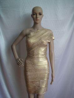 Sexy Dresses Fashion Bodycon Gold Celebrity Oscar Dresses Gorgeous Woodgrain Foil-Print Womens One Shoulder Bandage Dress