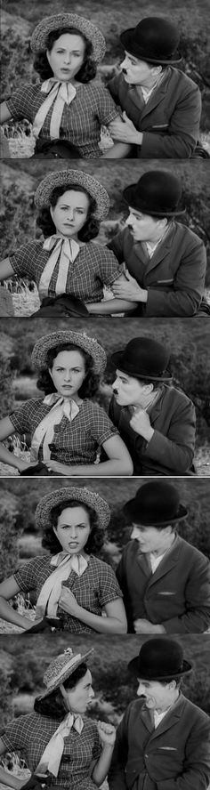 Paulette Goddard and Charlie Chaplin in Modern Times 1936 The gamin feels discouraged, but this time Charlie Chaplin is the one who lifts her morale, pep talks her into keep fighting.