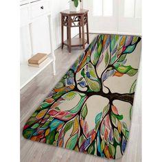 Colorful Tree Print Coral Fleece Bath Rug - COLORFUL W16 INCH * L47 INCH