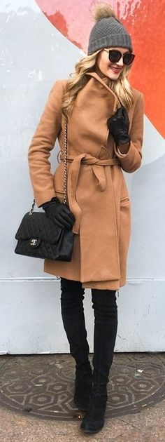 #winter #fashion / Camel Coat + Black OTK Boots + Grey Beanie
