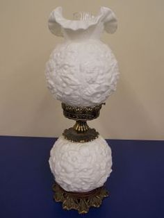 Vintage Hurricane Lamp Milk Glass W/Floral Design