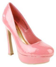 Amazon.com: Hippy01 Retro Heel Patent Platform Pumps Coral (7.5): Shoes