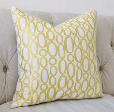 Modern Yellow Pillow Cover Yellow Geometric by MotifPillows