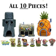 SpongeBob Fish Aquarium Ornament ALL 10 PIECES - Toy Character Fish Tank Set NEW