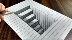How to Draw Steps in a Hole - Line Paper Trick ArtYou can find drawings and more on our website.How to Draw Steps in a Hole - Line Paper Trick Art Drawings On Lined Paper, 3d Pencil Drawings, 3d Art Drawing, Cool Art Drawings, Art Drawings Sketches, Drawing Tips, Easy Drawings, 3d Pencil Art, Drawing Ideas