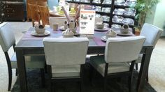 Gavelston Dining table.. you can choose between 4 chair colors or a wooden bench