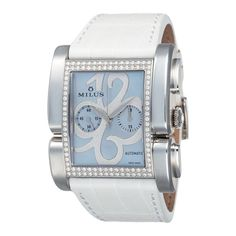 Ladies Leather Apiana Chronograph Watch with Diamonds in Blue & White.