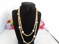 Reduced - Vintage GIVENCHY NWT Goldtone Metal Chain with Two Sizes of Round Rhinestones. The Chain Measures 40 inches Long. Signed. Free Ship to US.  CCCsVintageJewelry.com