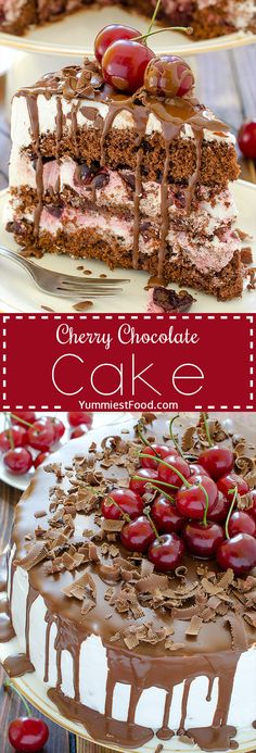 Cherry Chocolate Cake - amazingly good and so delicious! Light, moist, refreshing and perfect cake for summer parties! Cherry Chocolate Cake is real chocolate heaven!