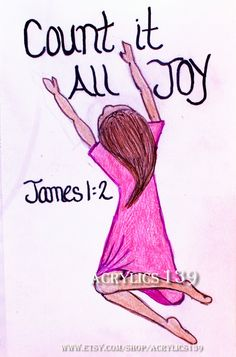 """Consider in pure joy, my brothers and sisters, whenever you face trials of many kinds."" James 1:2 (Scripture doodle of encouragement, women's ministries, women's retreat, bible study, bible art journaling, Sunday School, Children's Church, youth group, bible camp, Children's church, VBS)"