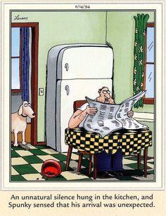 """The Far Side"" by Gary Larson. Far Side Cartoons, Far Side Comics, The Far Side Gallery, Gary Larson Far Side, Gary Larson Cartoons, Comic Strips, Funny Stuff, Humor, Sad"