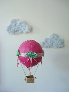 Paper mache hot air balloon - great for the play room