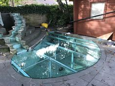 toughened laminated safety glass structural glass to allow people to be able to walk over the pond whilst keeping debris from falling in Safety Glass, Pond, Walking, Outdoor Decor, People, Projects, Home Decor, Blue Prints, Walks