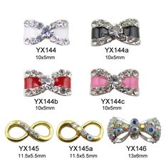 10pcs new glitter 3d bows nail art gold charms supplies for nail beauty YX144