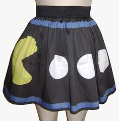 Printed Pacman and Ghost Skirt by GoFollowRabbits on Etsy, $54.99
