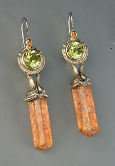 18KW Gold, Mali Garnet, Cognac Diamond Earrings with Removable Imperial Topaz Crystal Drops by Athenae Inc  ~  x