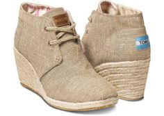 Toms Shoes Womens Desert Wedge Natural Burlap Size 8 New In Box Tom's Shoes
