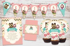 Luxury printable Kit Masha and the bear, decoration baby birthday parties, invitations, Candy Bar. Happy Birthday Name, Bear Birthday, 3rd Birthday, Birthday Parties, Cake Banner, Masha And The Bear, Bear Party, Cupcake, Party Kit