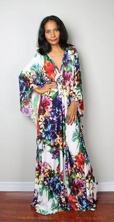 Floral Dress Boho Kimono Butterfly Maxi Dress : Funky by Nuichan
