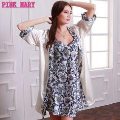 179641d7ae Women Nightgown Bathrobe Vintage Floral Print Pijamas Mujer 2016 Summer New  Set 2 Piece Sleep Dresses Tunics Robe Femme
