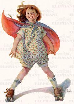 """Girl Roller Skating"", by American artist - Frances Tipton Hunter (1896-1957)"