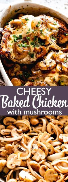 Cheesy Baked Chicken with Mushrooms - Low carb recipe for Baked chicken breasts covered in mozzarella cheese and deliciously caramelized mushrooms bakedchicken chickenrecipes mushrooms cheese lowcarb ketorecipes Baked Chicken And Mushrooms, Cheesy Baked Chicken, Baked Chicken Breast, Baked Chicken Recipes, Stuffed Mushrooms, Stuffed Peppers, Recipe With Mushrooms, Chicken Breast Mushroom Recipe, Chicken And Mushroom Casserole
