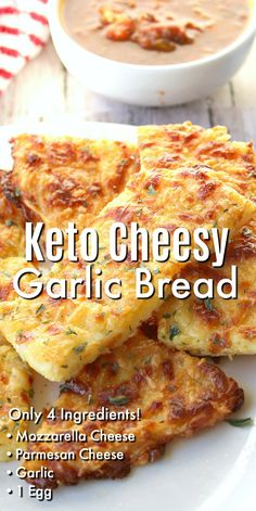 This quick and delicious Keto Cheesy Garlic Bread is low carb, sugar free and gluten free! Cheesy Garlic Bread, Healthy Garlic Bread, Zucchini Bread, Keto Side Dishes, Healthy Low Carb Recipes, Carb Free Recipes, No Sugar Foods, Low Sugar Meals, Low Sugar Snacks