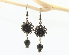 Black Mums Earrings with Crystal Drops Resin