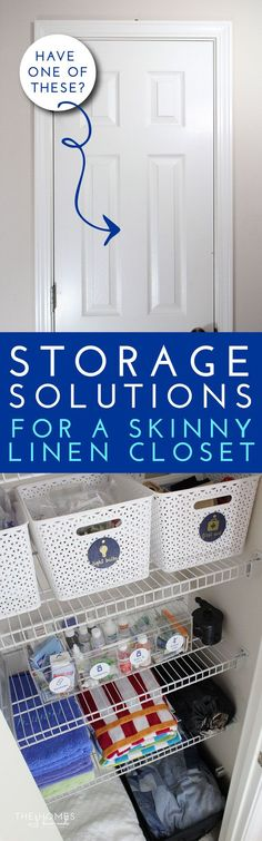 Make the most of every inch you have in your linen closet by using these smart and savvy storage solutions for table linens, batteries, medicine, towels, blankets and more! Small Closet Storage, Linen Closet Organization, Diy Storage, Organization Ideas, Storage Ideas, Clever Closet, Smart Storage, Organising Ideas, Garage Storage