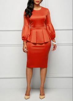 Back Slit Peplum Waist Lantern Sleeve Dress on sale only US$30.64 now, buy cheap Back Slit Peplum Waist Lantern Sleeve Dress at liligal.com#christmas #christmasgifts #dress #dresses #winter #fall #liligal